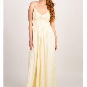 Pinkblush Yellow Backless Maternity Maxi Dress